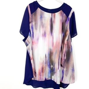 Lane Bryant Watercolor Chiffon Blouse